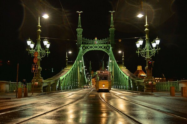 Night city lights Budapest