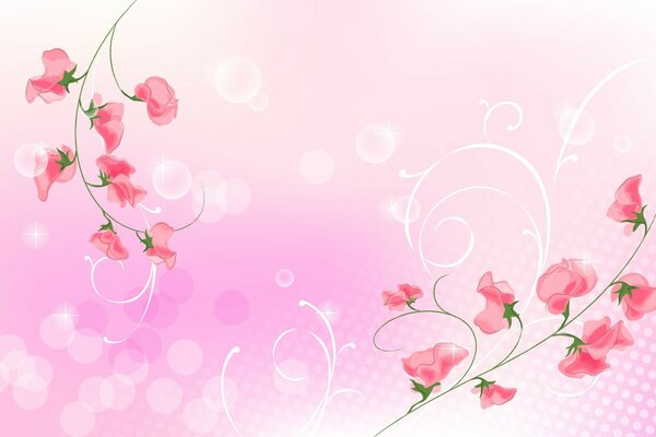 Pink Flowers Illustration