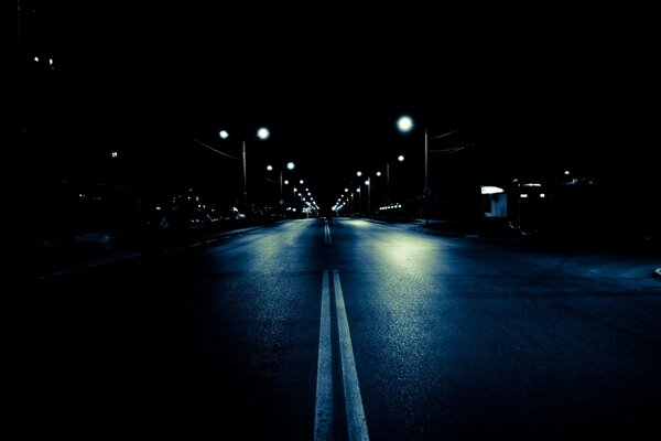 road city lights Night