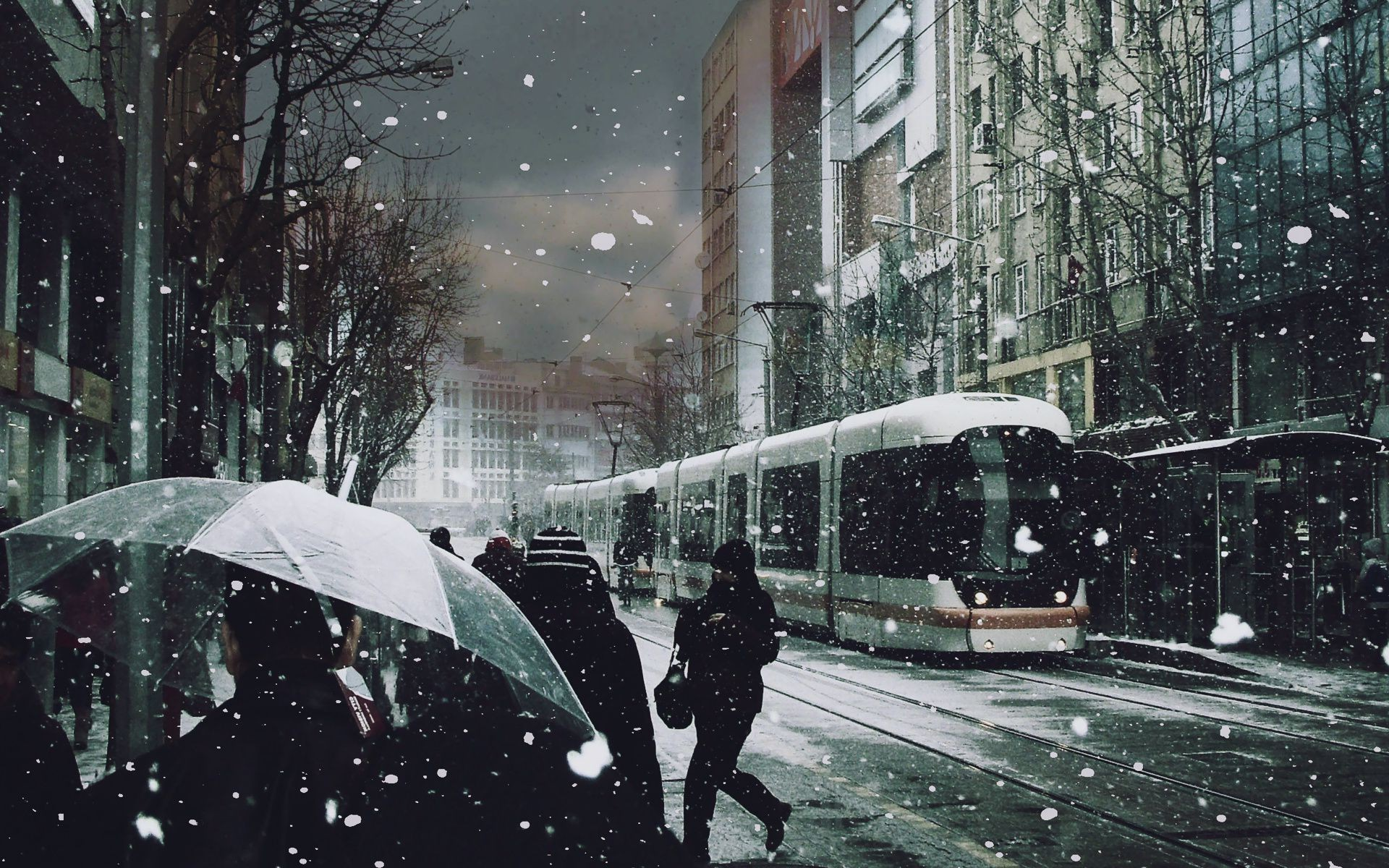 Tram People Snow Umbrellas Android Wallpapers For Free