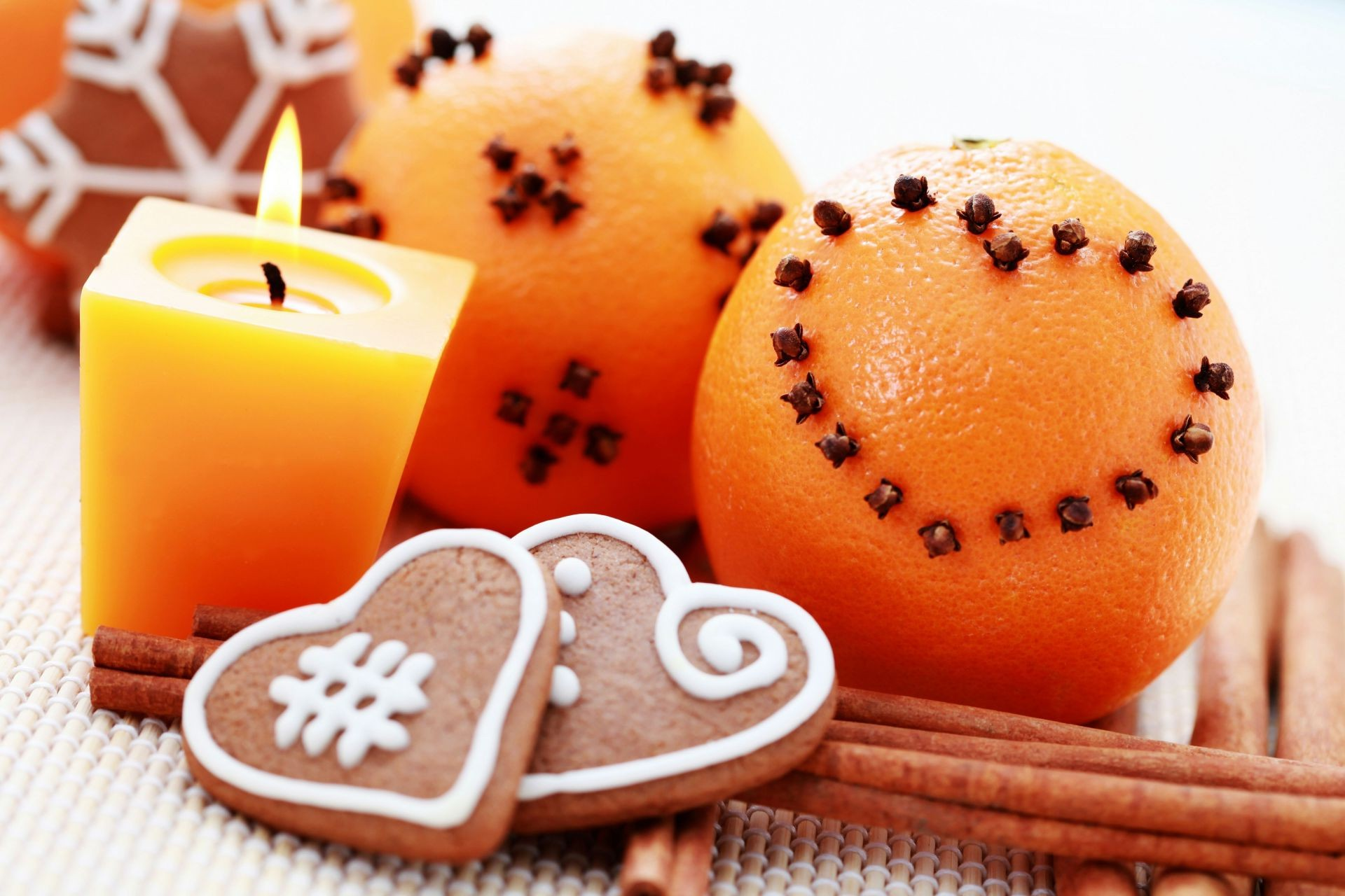 candles orange cinnamon Holidays new year