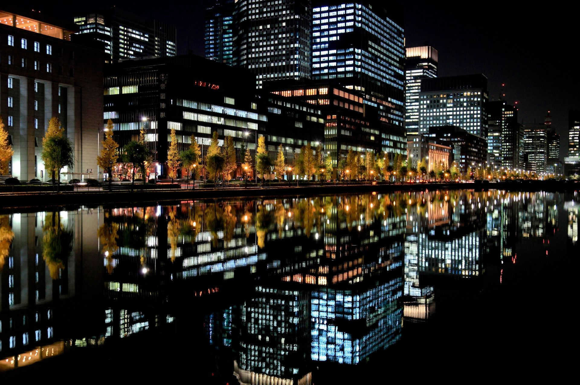 the reflection of the lights of the night City Japan