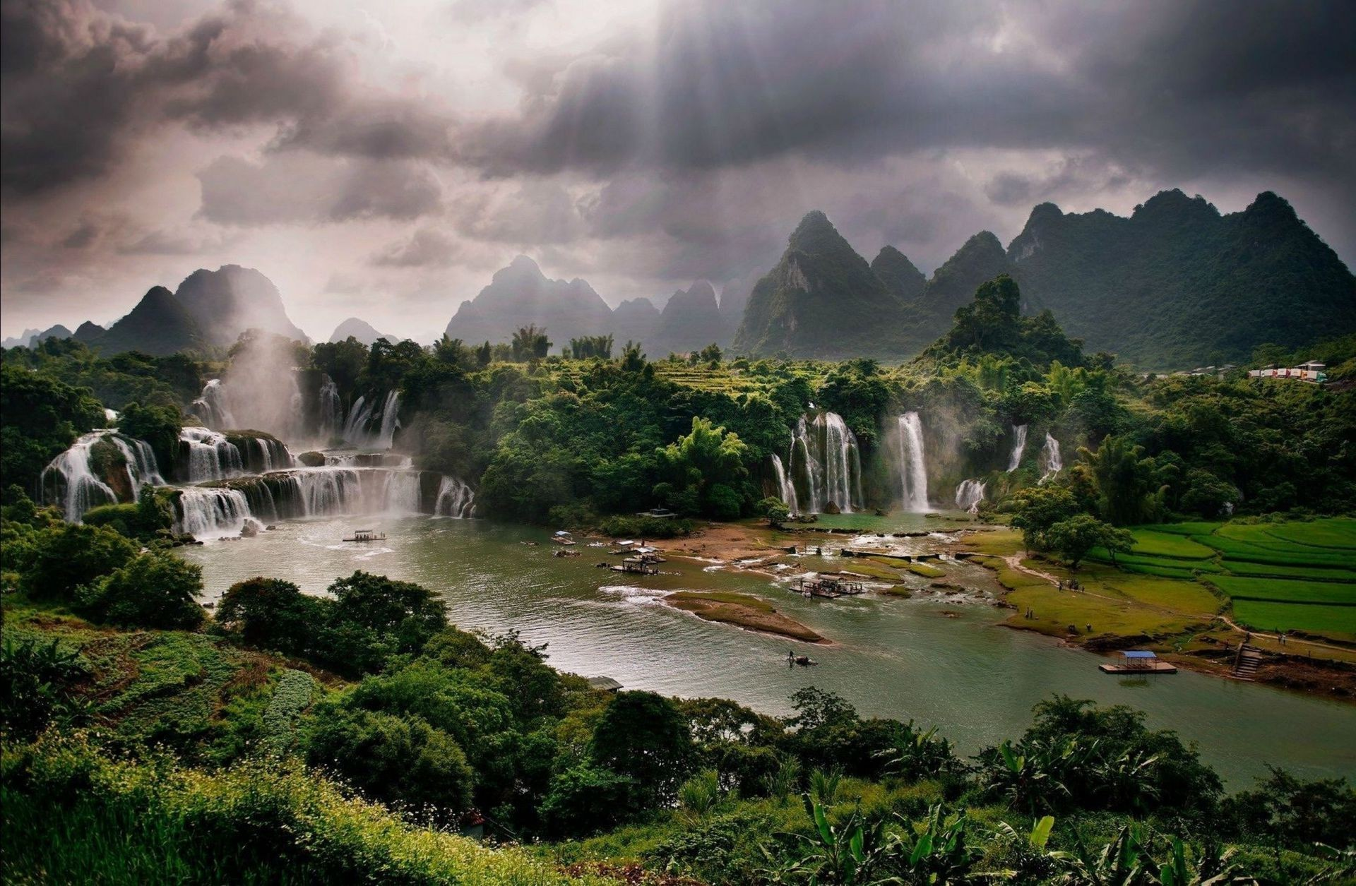 Nature waterfalls mountains river forest landscape