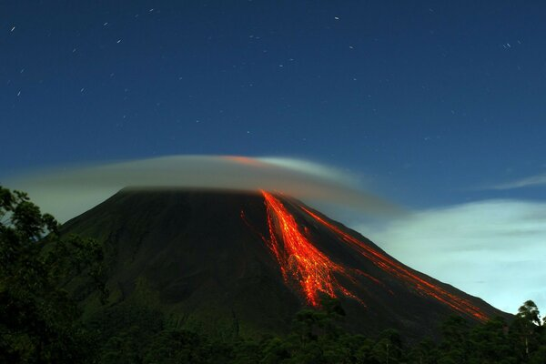 hill volcano lava mountain nature forest