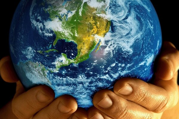 hands planet earth