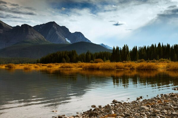 sky canada mountains forest trees autumn lake blue a