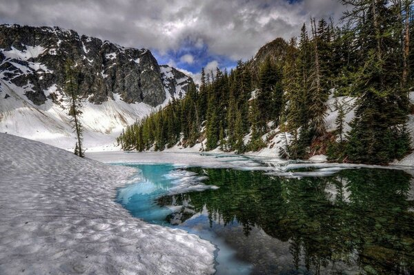 Azure forest river mountain snow landscape