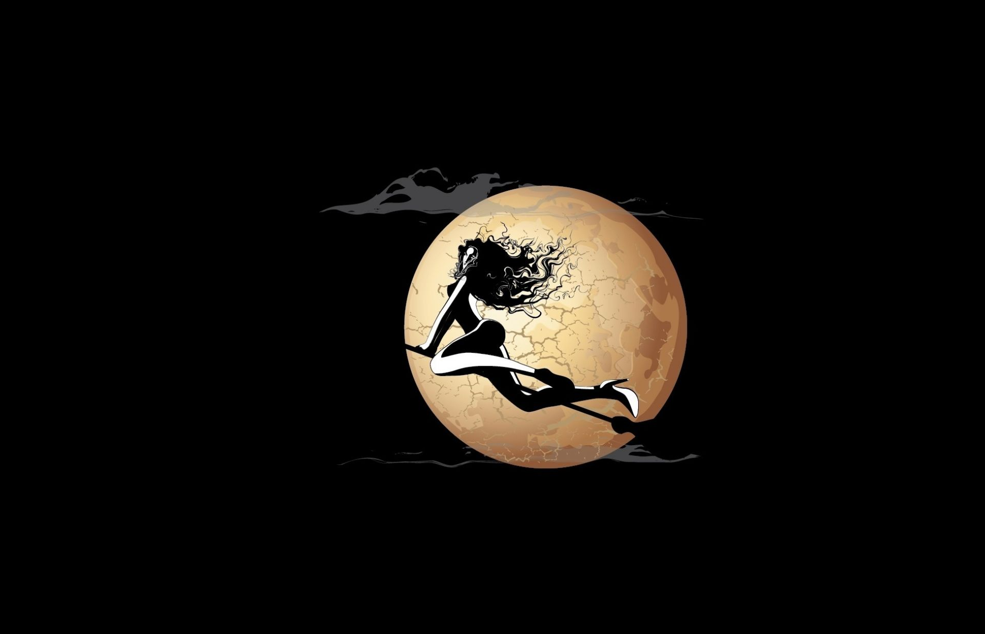 girl witch broom Moon