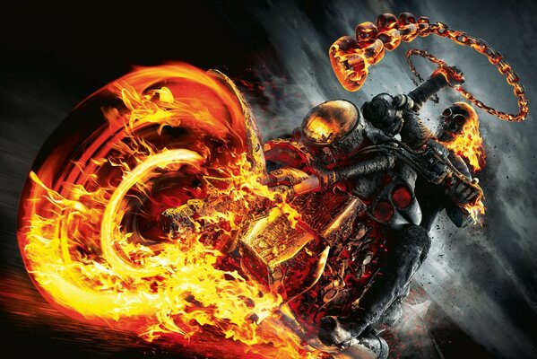 Ghost rider motorcycle fire skull Ghost rider