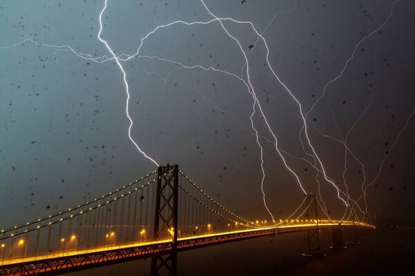 lightning rain San Francisco lights