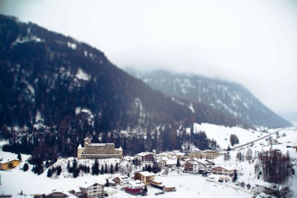 Town snow resort Alps mountains tilt-shift winter