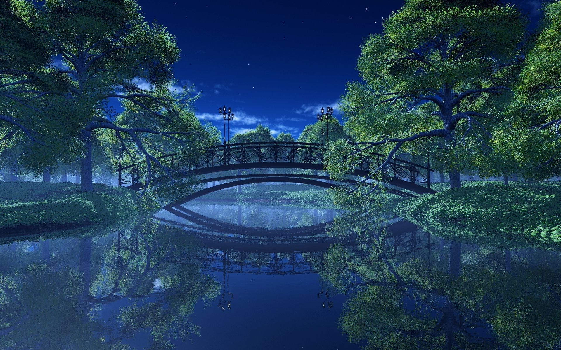 Park river trees Landscape night bridge lights