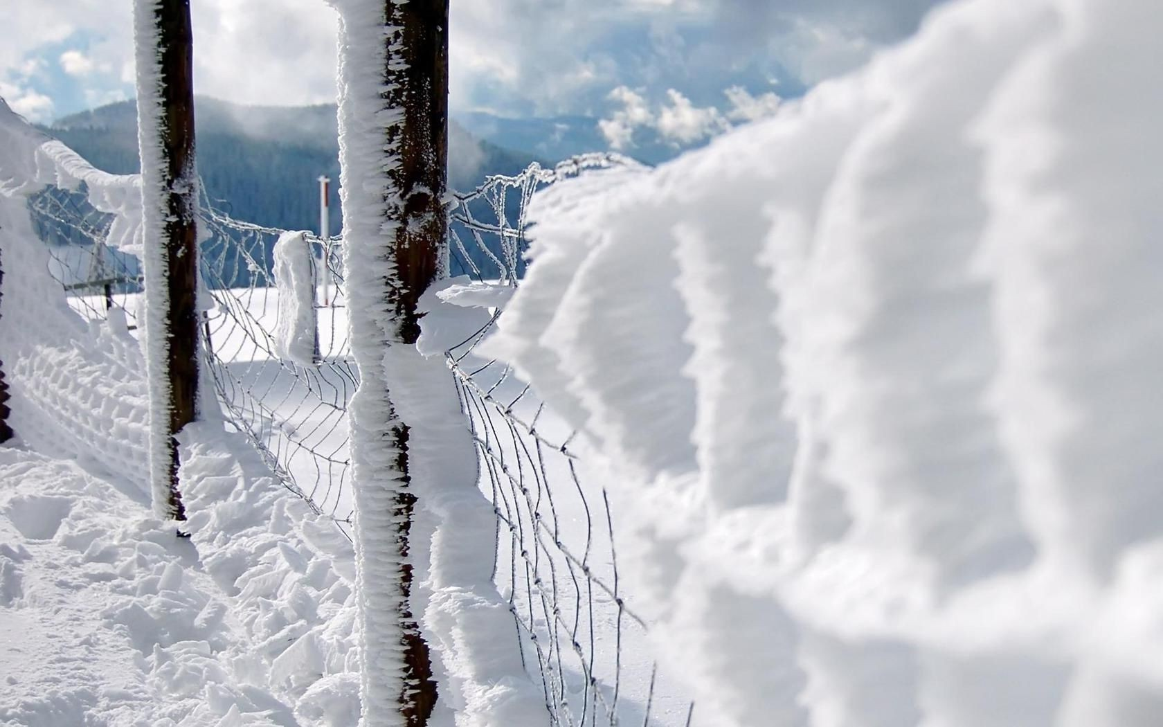 fence mesh winter snow