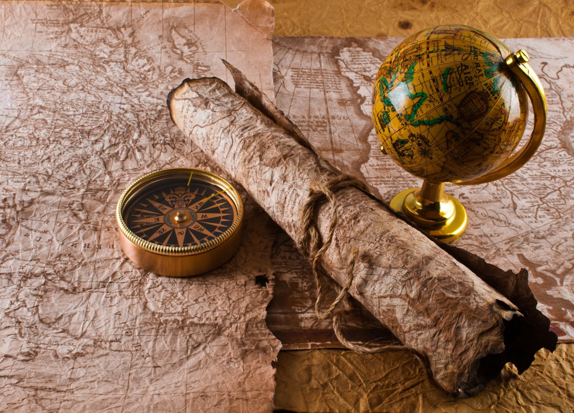 Compass The Manuscript Globe Rope Map Phone Wallpapers