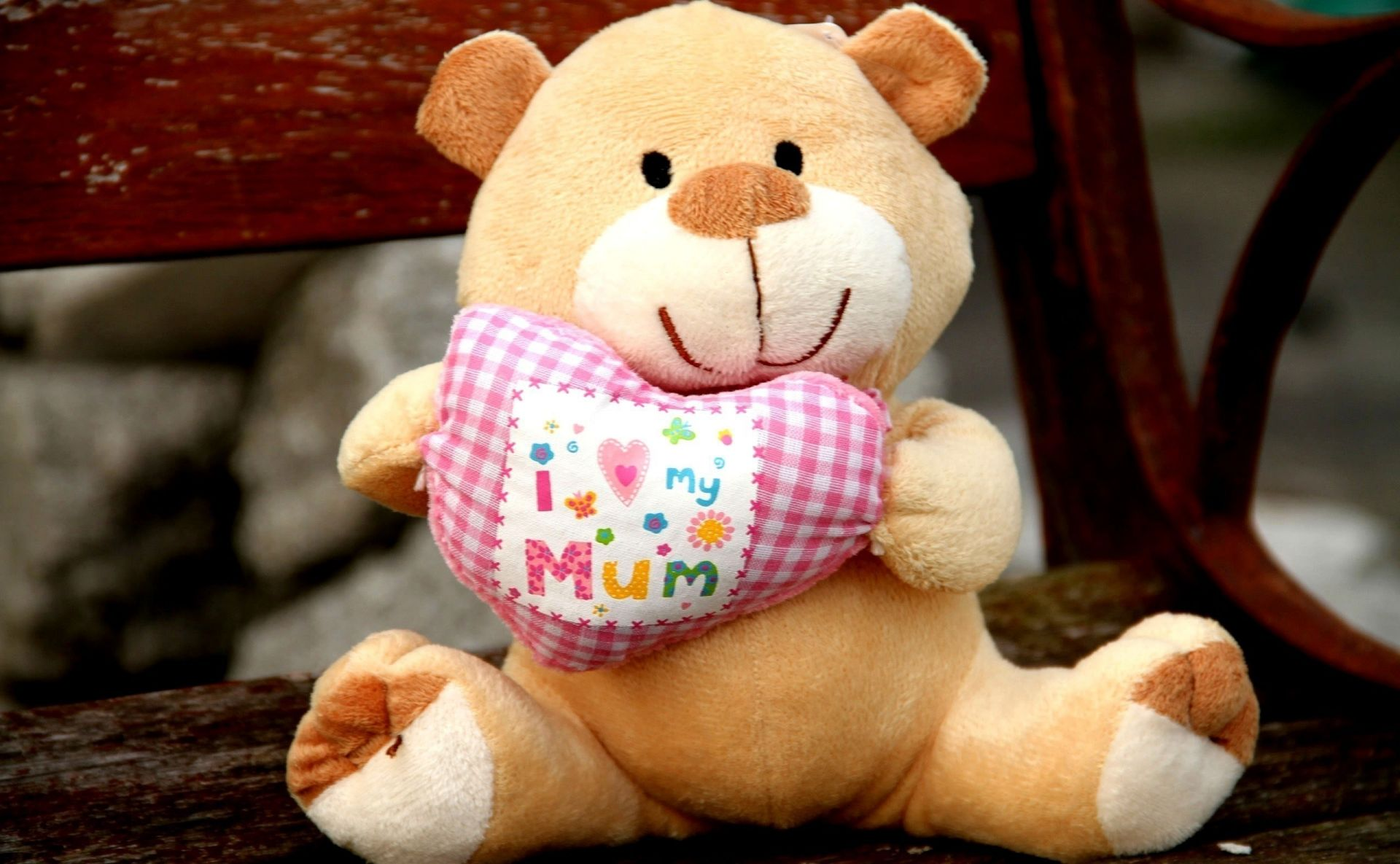 Soft Toy Bear Heart I Love My Mommy Android Wallpapers