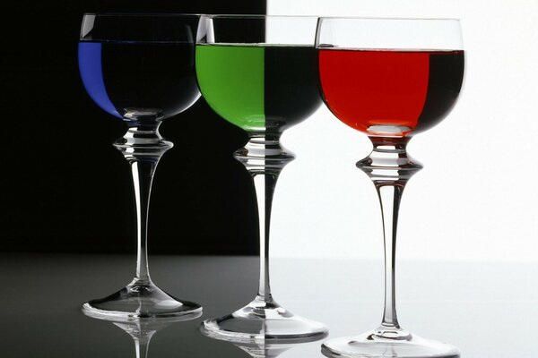Contrasts In Rgb Three Glasses Filled With Blue Green And Red Liquids