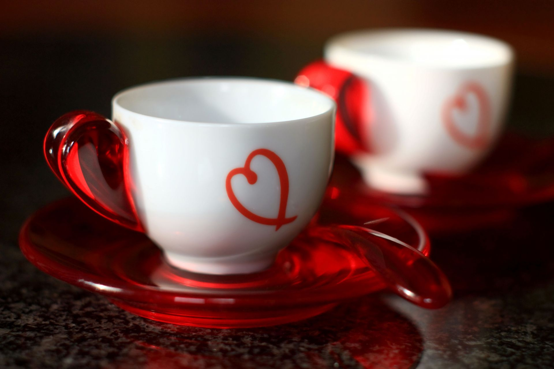 spoon red heart White cups Cup red spoon white