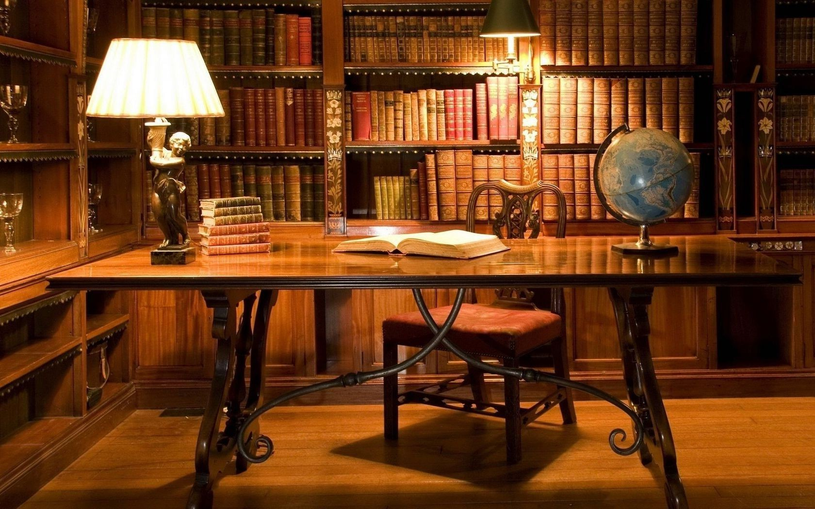 Books Office Lamp Desk Globe Phone Wallpapers