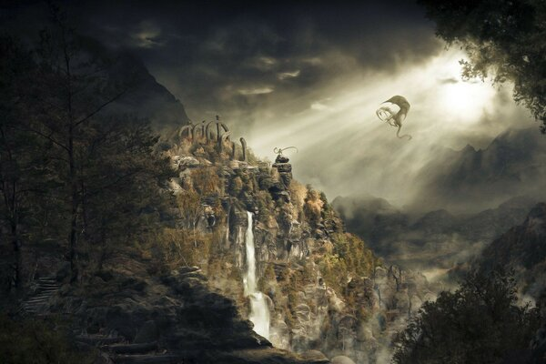 waterfall skyrim dragonborn Dragon mountain