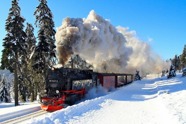 steam train railway winter