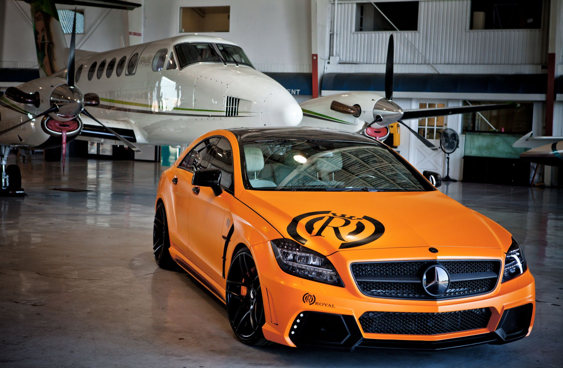 Aircraft cars orange Mercedes car tuning - Android wallpapers