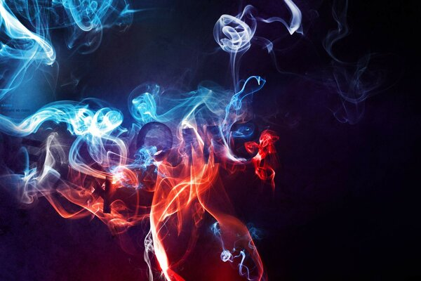 smoke Dark smoke red blue background pairs