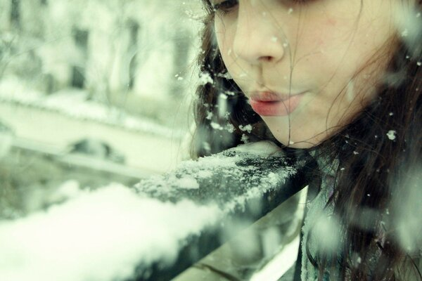 winter children girl brunette Mood girl