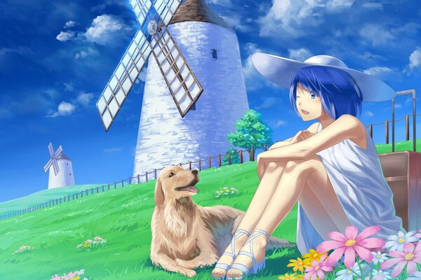 Anime Girl With Her Pet Dog