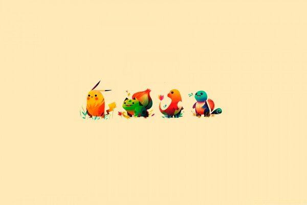 Pokemon Bulbasaur, Pikachu, Charmander, Squirtle