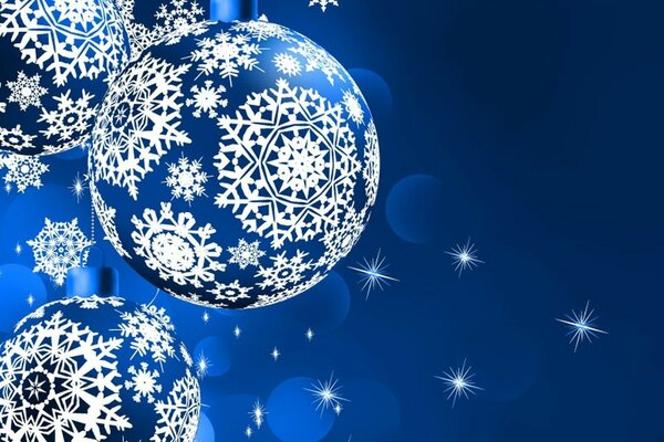 blue balls background stars snowflakes