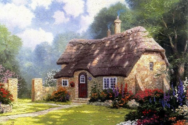 Cottage in the forest summer cottage Thomas Kincade thoma