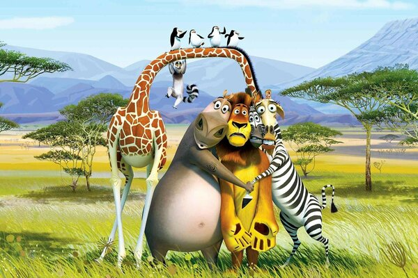 lion Hippo Zebra Madagascar giraffe Cartoon