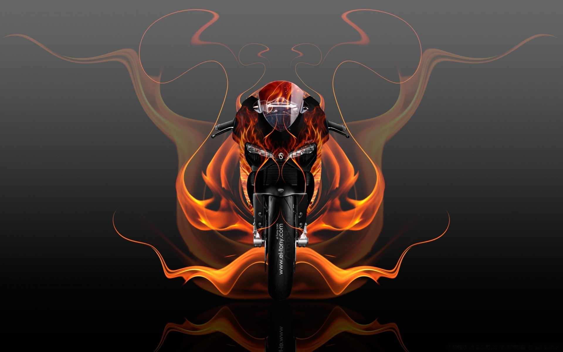 Ducati 1199 Fire Abstract Bike 2015 Design By Tony Kokhan IPhone Wallpapers For Free