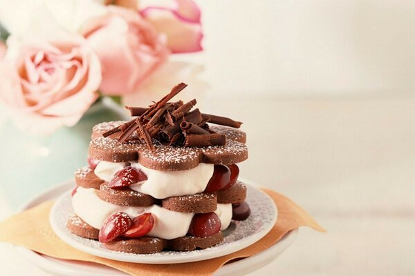 the sweetness of the Food chocolate cream dessert tasty cake