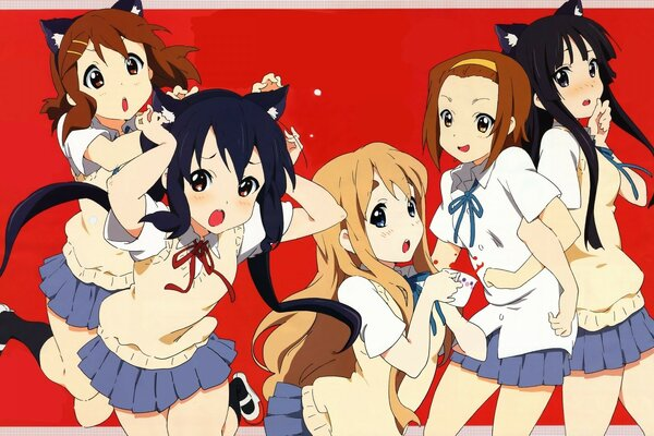 K ON! Ritsu, Mio, Yui And Tsumugi