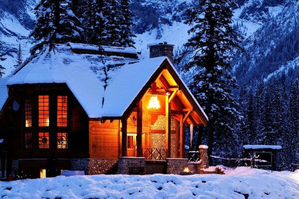 snow nature light house night house