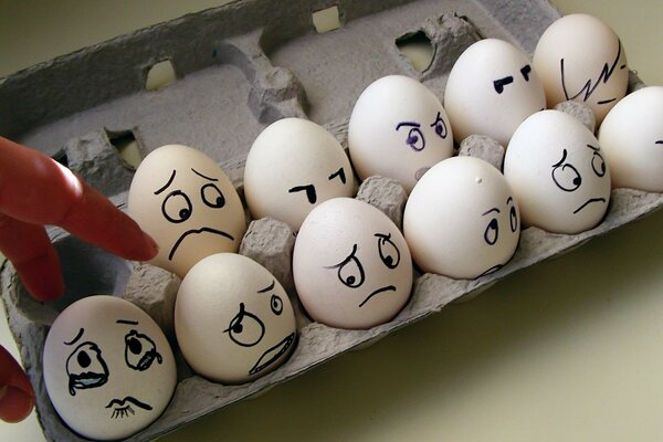 the emotions of fear tears of the egg carton
