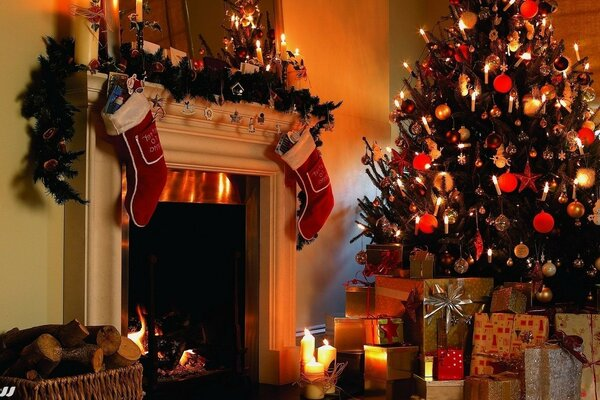 gifts fireplace Christmas tree new year