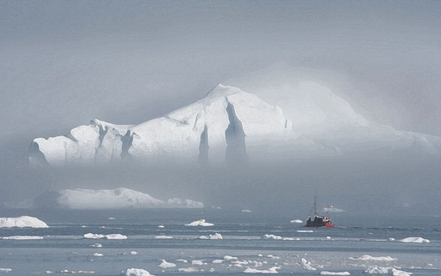 the picture winter sea ice of the fog the ship