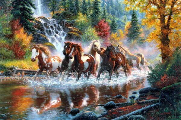 horses the horses waterfall forest autumn river by Mark keathley taboo