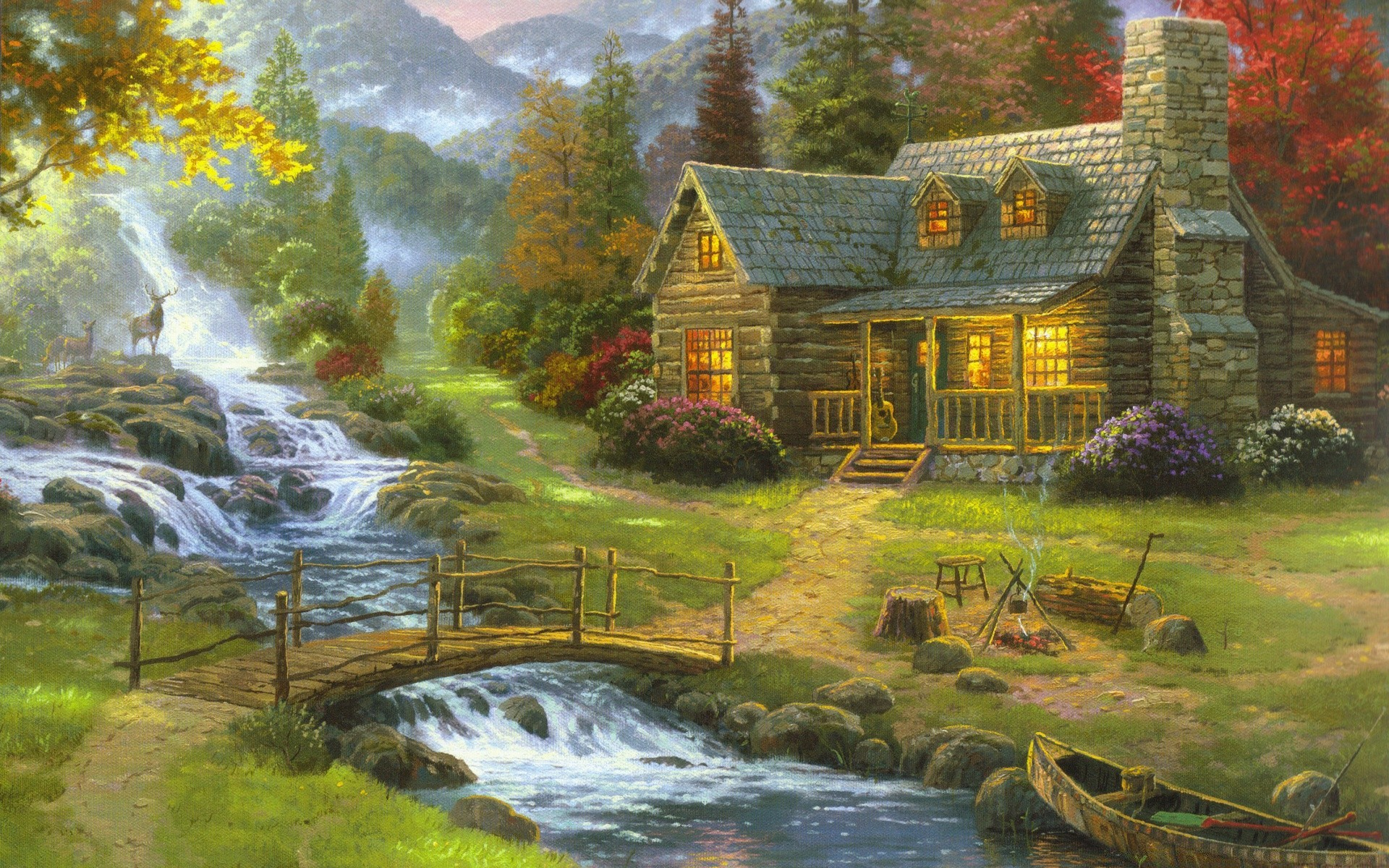 drawings water fall nature river wood tree outdoors travel landscape summer house scenic leaf stream lake