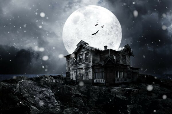 Haunted house night bats full moon midnight moonlight