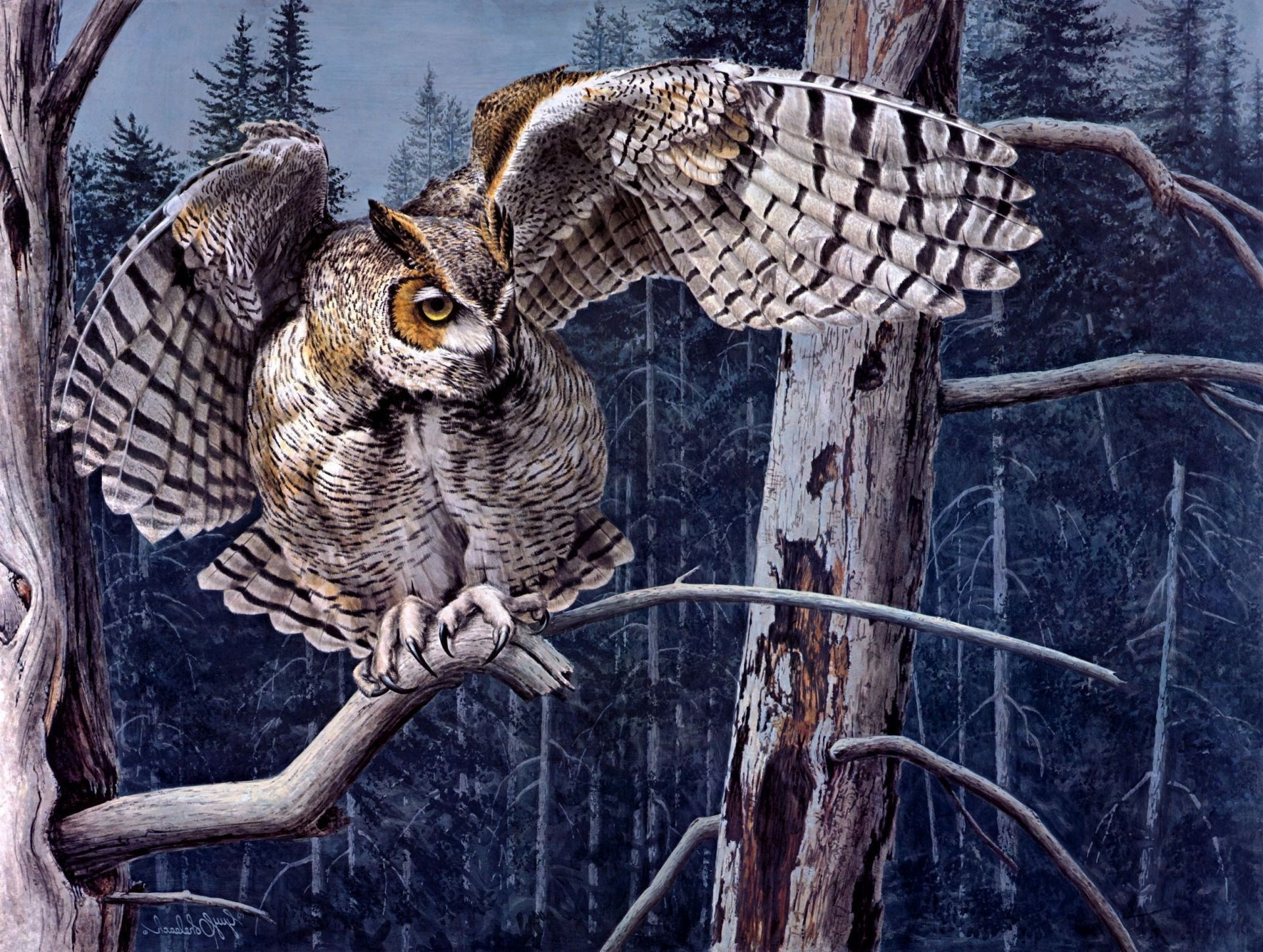 the forest branch owl Guy coheleach owl tree art