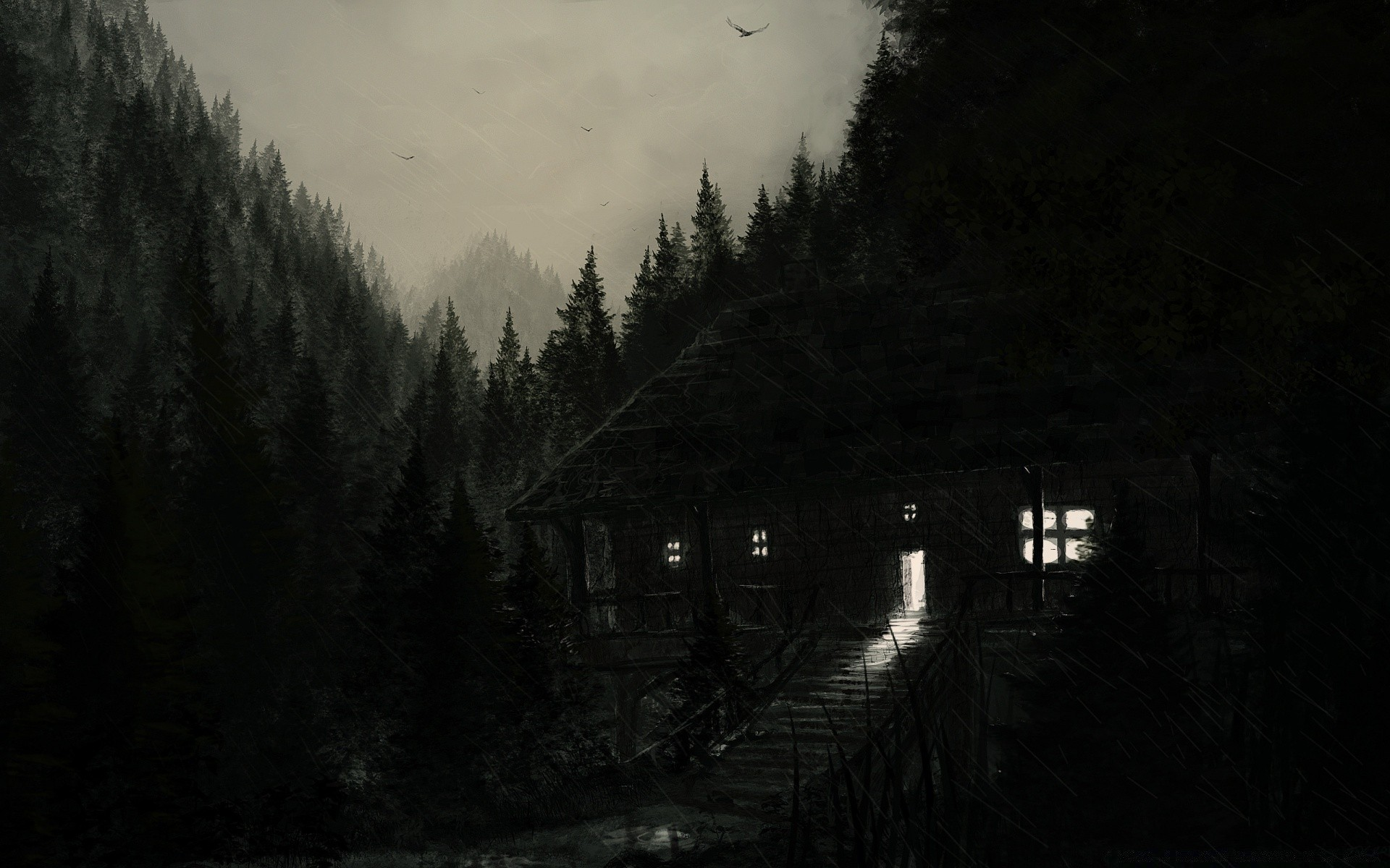 Rainy Night Painting Android Wallpapers For Free