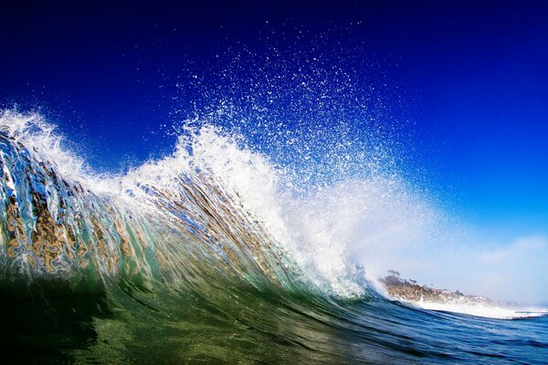 Nature ocean sea spray wave