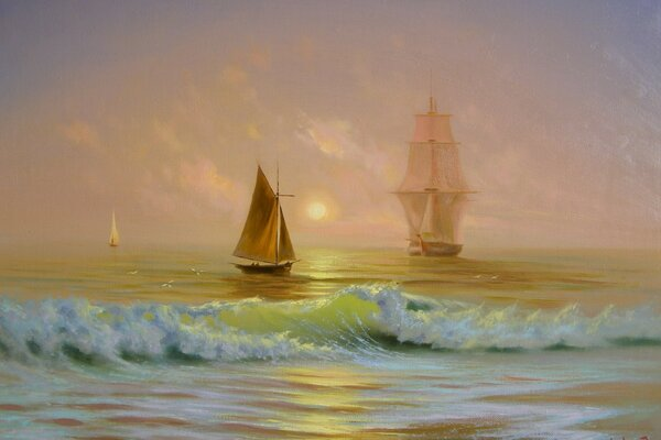 Ships On The Ocean Painting