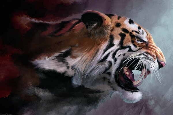 Angry Tiger Painting