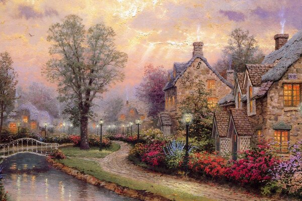 Village Painting by Thomas Kinkade