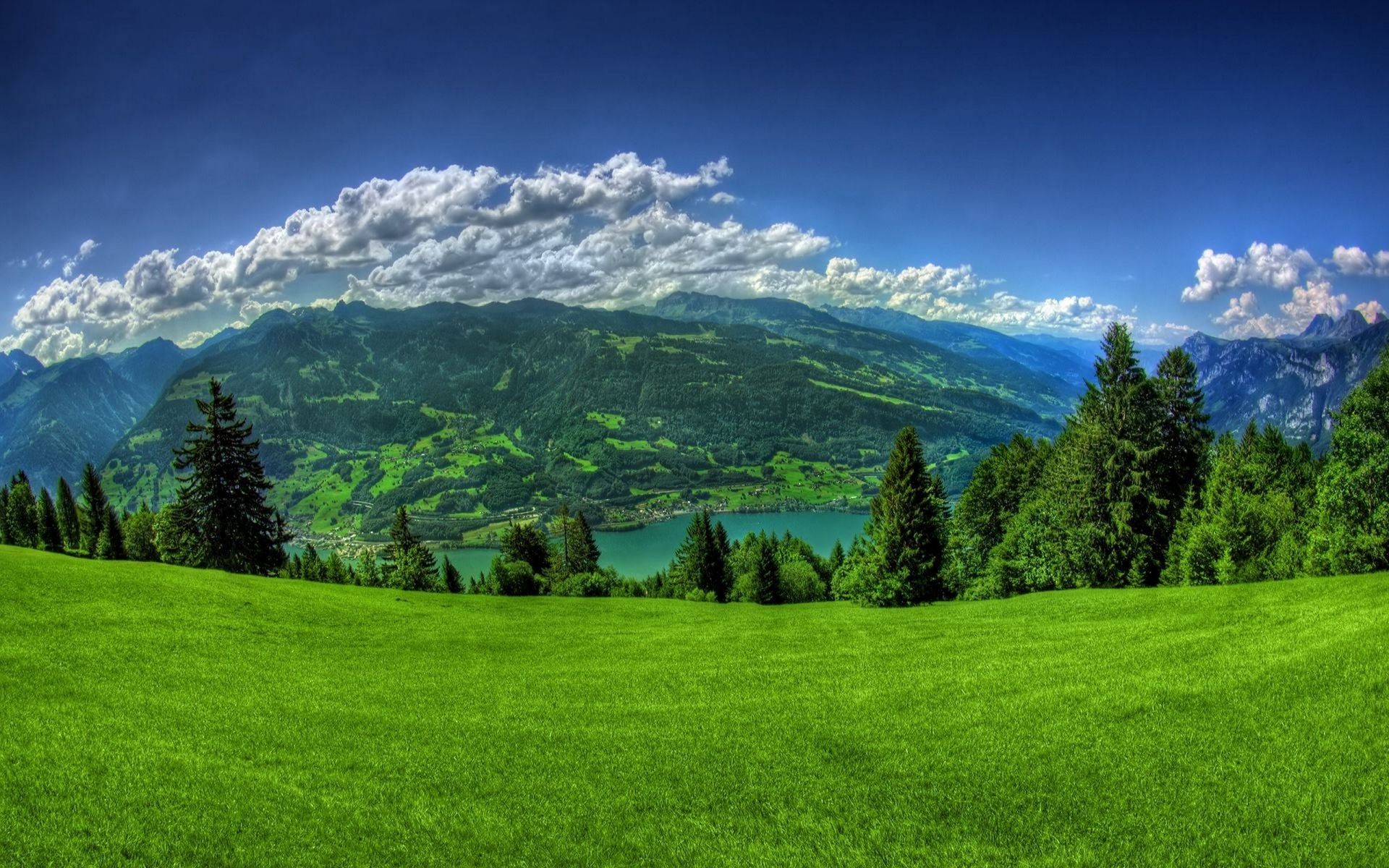 Lawn trees landscape mountains sky clouds