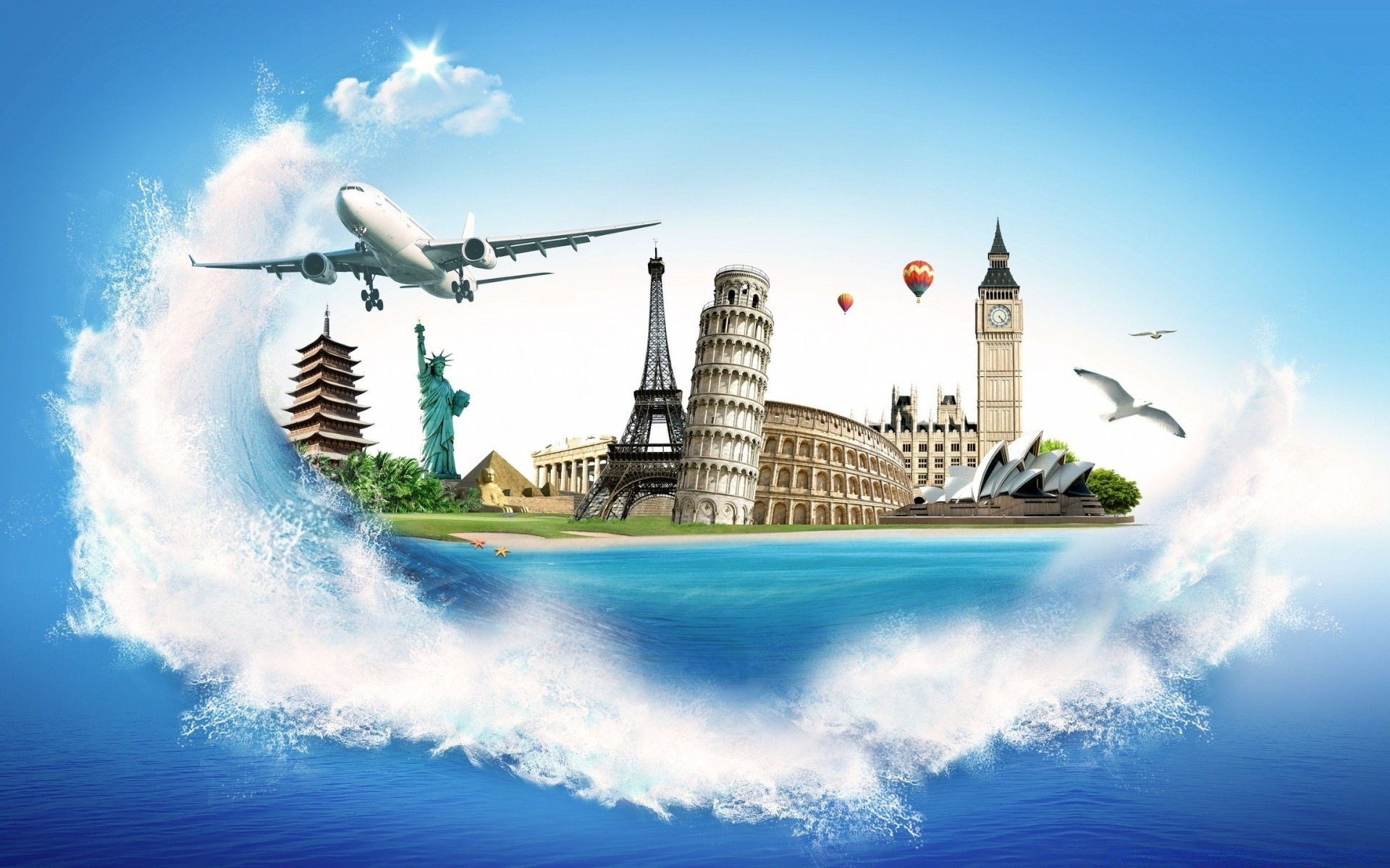 creative sky travel water cloud outdoors sea tourism architecture city landscape summer sunset ocean sight